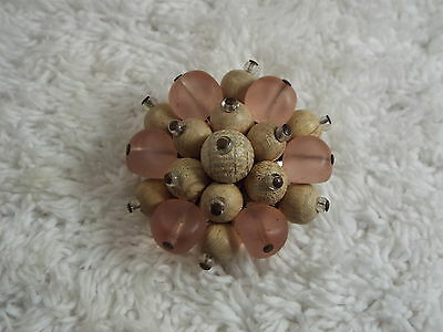 Pink Glass & Wood Bead Cluster Pin (B40)