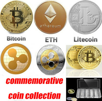 Bitcoin Litecoin Ethereum XRP Coin Commemorative Round Collectors Coin With Case