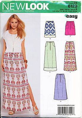 New Look Sewing Pattern 6129 Misses 8-18 Easy Pull-On Skirts & Maxi W/ Side Slit