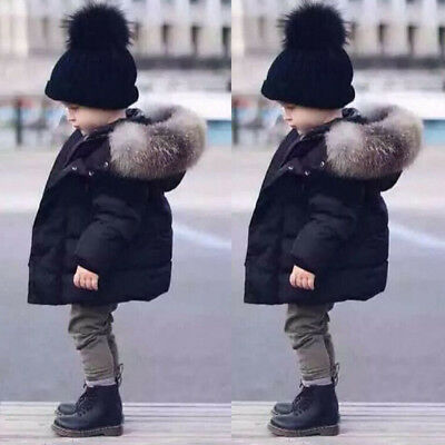 Fur Hooded Coat Boys Kids Black Thick Warm Winter Cotton Padded  Parka Jacket