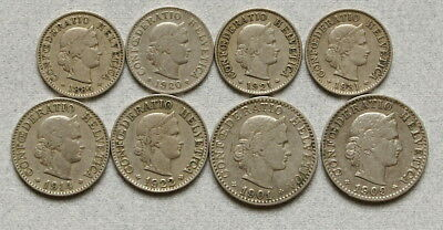 SWITZERLAND 5, 10, 20 Rappen 1884-1931 - Lot of 8 Old Coins, No Reserve!