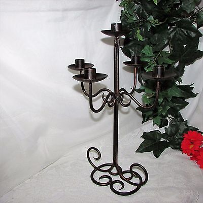 """Wrought Iron 5 Arm Candelabra Taper Candle Holder Large 16"""" Tall Antique Finish"""