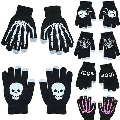 Men Women Winter Warm Thermal Skull Skeleton Touch Screen Knit Gloves Mittens