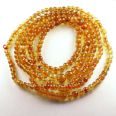 26.66g 100% Natural Mexican Golden Amber Bead Bracelet Necklace CSFb563