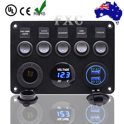 12V 24V 5 Gang Car ON-OFF Toggle Switch Panel Dual USB Socket Charger Voltmeter