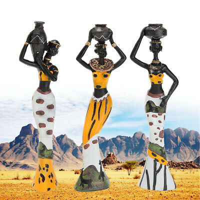 3 X African Lady With Vase Yellow Ethnic Statue Ornament Figurine Home Decor HOT