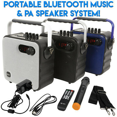 QTX Portable Bluetooth Music Party Speaker with PA Microphone Radio USB SD AUX