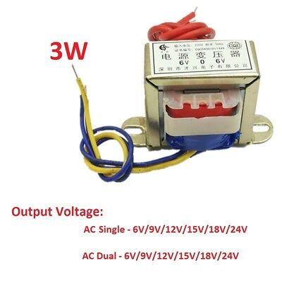 EI41 3W Power Transformer 220V TO 6V/9V/12V/15V/18V/24V AC Single/Dual DB-3VA