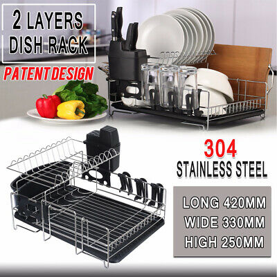304 Stainless Steel 2 Tier Dish Rack Drainer Kitchen Plate Cutlery Drying Tray