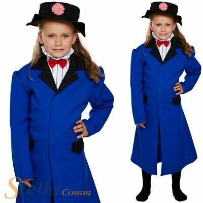 Girls Victorian Nanny Costume Mary Poppins Book Week Fancy Dress Child Outfit