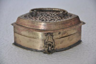 1930's Old Brass Handcrafted Jali Cut 6 Compartment Mirror Fitted Betel Nut Box