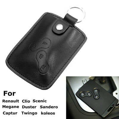 Leather Car Key Case Cover Wallet Holder Keychain For Renault Clio Scenic Megane