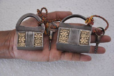 2 Pc Old Iron Brass Fitted Engraved Strips Screw System Padlocks