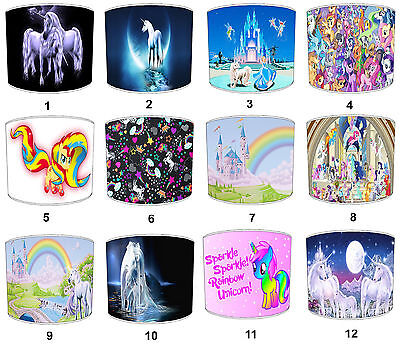 Children`s Unicorn Lampshades Ideal To Match Princess Unicorn Sleeping Bags.