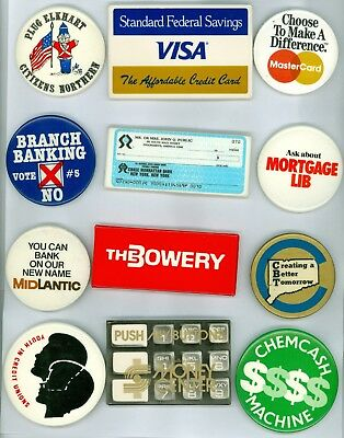 12 Vintage 70s-80s Bank & Financial Institution Advertising Pinback Buttons