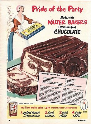 1951 Baker's Chocolate Fun Fest Cake Recipe Ad Pride Of The Party