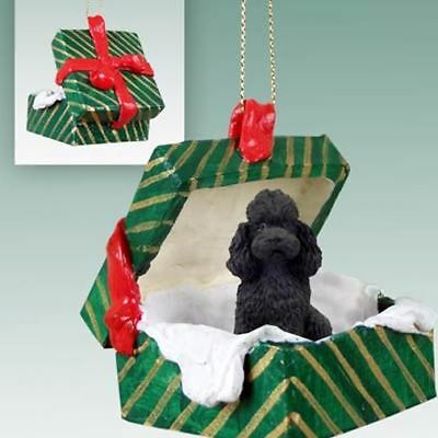 Poodle Black Sport Cut Dog Green Gift Box Holiday Christmas ORNAMENT