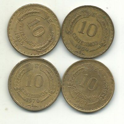 Andean Condor Lot 4 Chile 10 Centimos Coins-1964 S,1965 S,1967 S,1970 S-Jan155