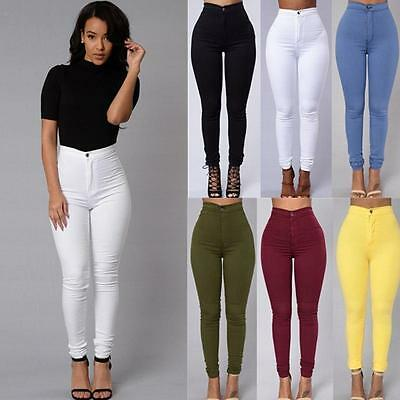 Women Skinny Pencil Pants High Waist Stretch Slim Fit Cotton Jegging Trousers