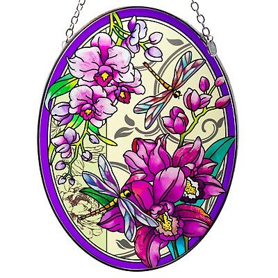 """Orchid Collage Dragonflies Suncatcher Hand Painted Glass By AMIA Studios 7"""" x 5"""""""