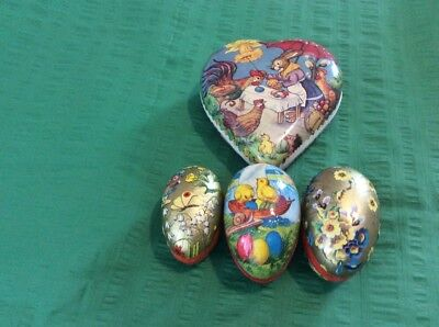 Lot Of 4 Antique / Vintage Cardboard Candy Containers Germany Lg. Heart & 3 Eggs