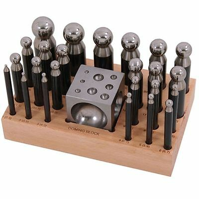 25pc Steel Doming Block and Punch Set Dapping Craft Metal Shaping Tool