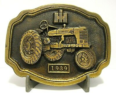 IH International Harvester Farmall H Tractor Brass Belt Buckle Ltd Ed 3rd Series