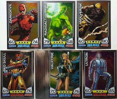 MARVEL HERO ATTAX Series 1 MIRROR Foil Card Set   17 - 40    UK   2011  Topps