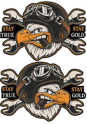 2er L Oldschool Biker Sticker 1% Chopper Aufkleber Stay True Motorrad USA Bobber