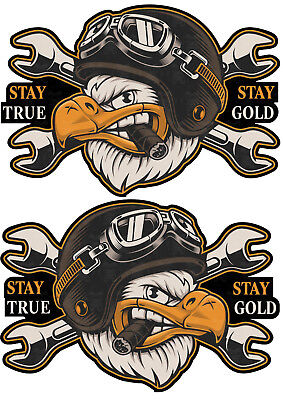 2er XL Oldschool Biker Sticker Chopper Aufkleber Stay True Motorrad USA Bobber