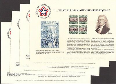 US 1976 Declaration of Independence BEP #B34 Souvenir Cards Lot of 4 Mint