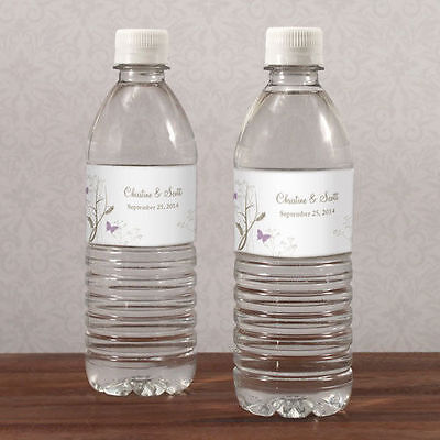 60 Romantic Butterfly Water Bottle Labels Bridal Shower Wedding Favors