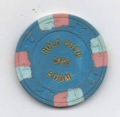 Old Blue One Dollar Poker Chip from the Gold Rush Card Room