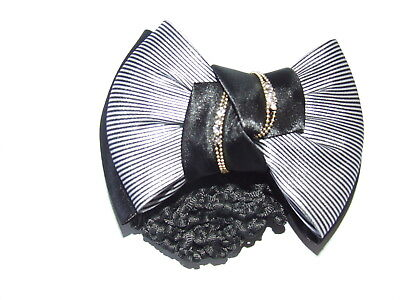 Ecotak Bow Hair Clip with hair net/snood - navy & white fine pinstripe knot Ecot