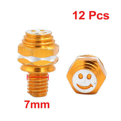 12 PCS Yellow Smile Face Print Car Auto License Plate Frame Screw 7mm Thread