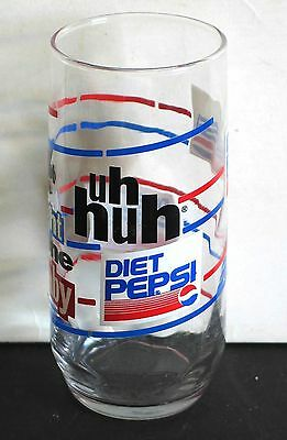 "1980s Diet PEPSI COLA Glass 6 ""YOU GOT THE RIGHT ONE BABY UH HUH"" FREE SH"
