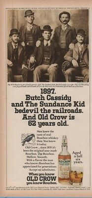 1974 Old Crow Bourbon Whiskey 1897 Butch Cassidy Sundance Kid Vintage Photo Ad