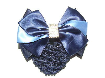 Ecotak Bow Hair Clip with Hair net/clip - 2 shades of blue with diamontes Ecotak