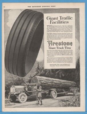 1918 Firestone Giant Truck Tires Akron Ohio OH Logging truck trucking Ad