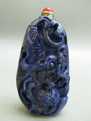 Chinese Lapis Lazuli Carved Dragon Pattern Snuff Bottle