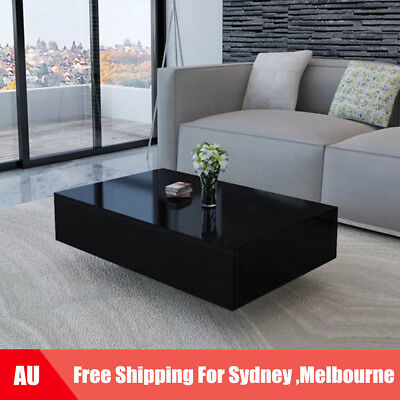 High Gloss Black Coffee Table Side End Square Furniture Living Room 85cm J6H8