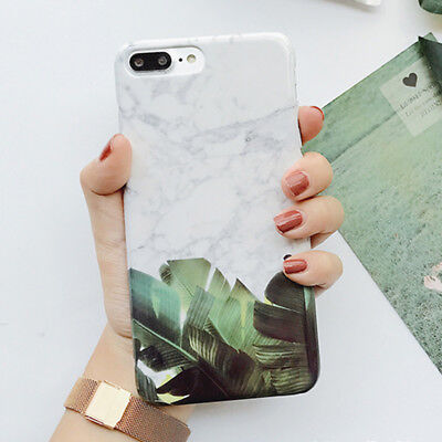Popular Marble Banana Leaf Hard PC Protect Phone Case For iPhone 6 6s 7 8 Plus