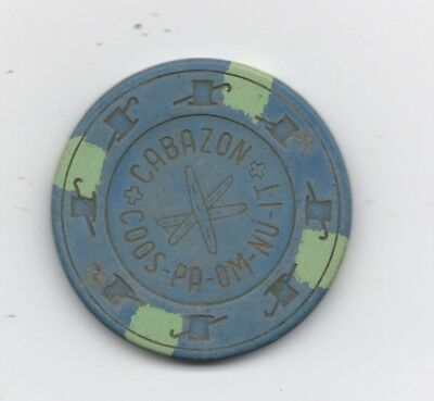 Old Blue One Dollar Poker Chip from Cabazon
