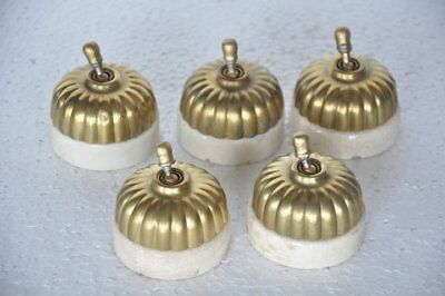 5 Pc Vintage Melon Shape Sperrynwood Brass & Ceramic Electric Switches,England