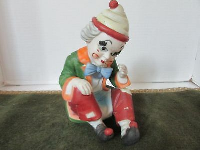 "Send In The Clowns Revolving Bisque Clown Music Box Figurine 8-1/4"" Tall"