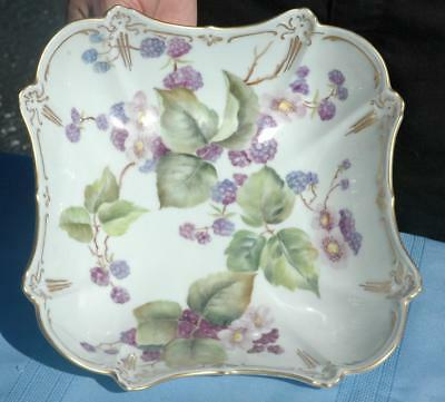 Beautiful Vintage Hutschenruether China Serving Bowl With Berries & Gold Leaf
