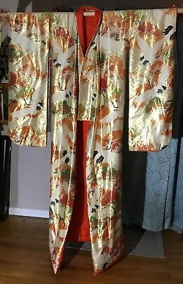 Gorgeous Uchikake Vintage Authentic Silk Japanese Wedding Kimono Cream W/Cranes