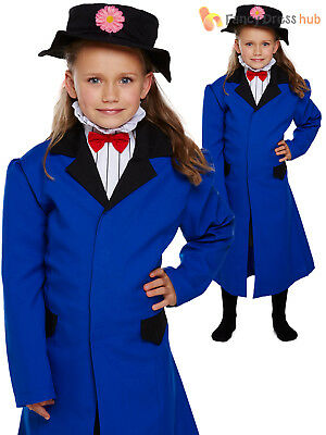 Girls Victorian Nanny Fancy Dress Costume Kids Mary Outfit Book Week Day Child