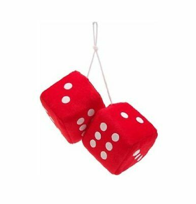 Retro Red / White Soft Fluffy Furry Car & Home Hanging Mirror Spotty Dice lucky