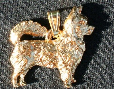 CHIHUAHUA Long Hair Dog 24K Gold Plated Pewter Pendant USA Made